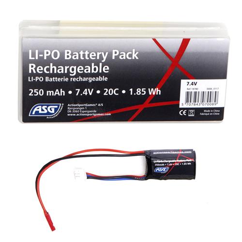 250mAh 7.4V LiPO Airsoft Battery 20C