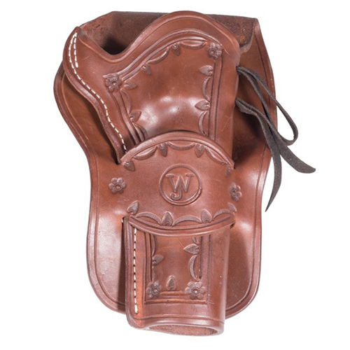 Western Justice Hand Tooled 6 Inch Leather Holster