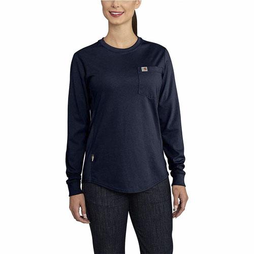 Carhartt Womens Flame-Resistant Force Cotton Long-Sleeve Crewneck T-Shirt