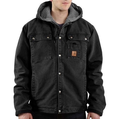 Multi-Pocket Sandstone Sherpa-Lined Hooded Jacket