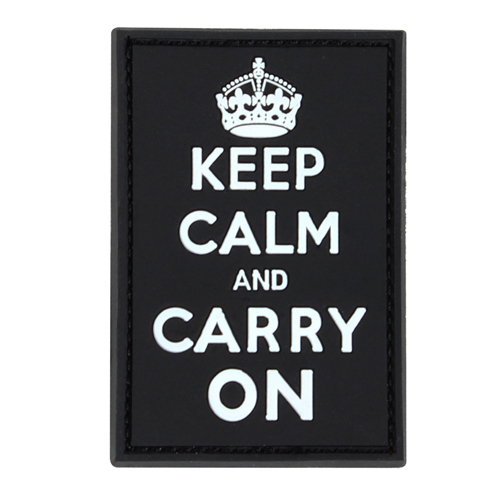 Condor PVC Keep-Calm Carry-On Moral Patches - White