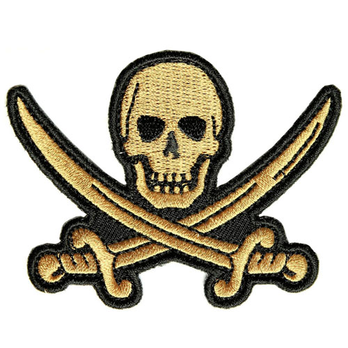 Pirate Sword Skull Patch 3x2.25 Inch