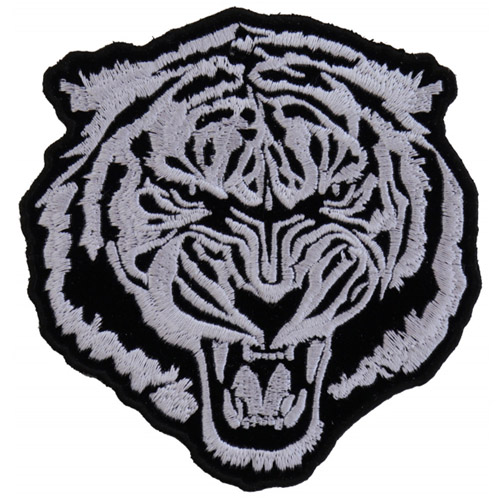 Small White Baron Tiger Embroidered Patch - 3.75x4 Inch