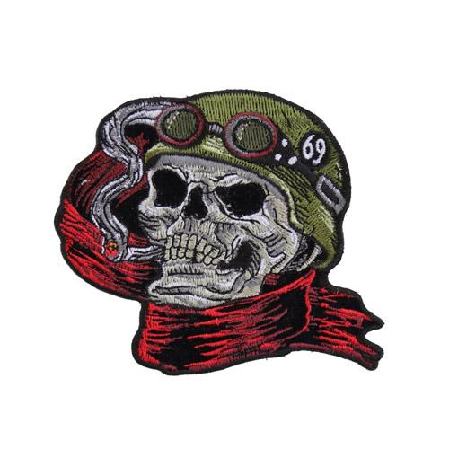 Helmet Skull Scarf Biker 69 Patch - 4x3.5 Inch