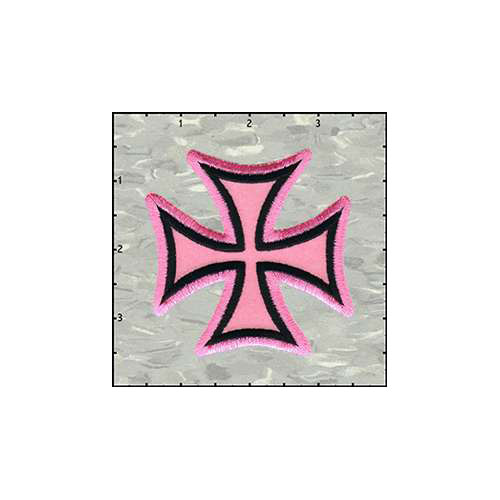 Maltese Cross Velveteen 3 Inches Pink Patch