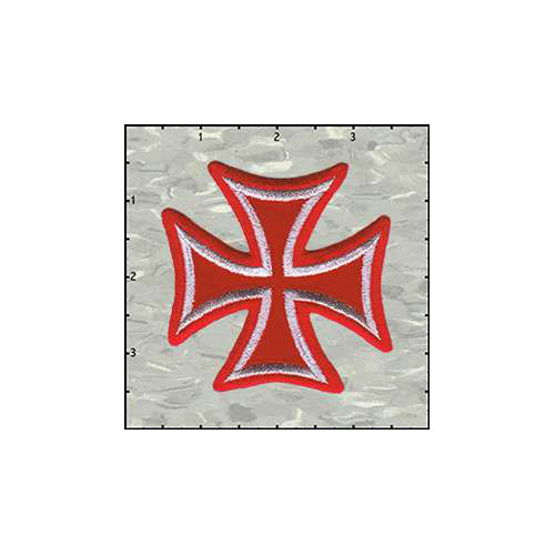 Maltese Cross Velveteen 3 Inches Red Patch