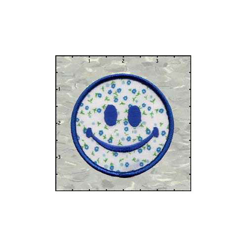 Smiley Flowered Blue 3 Inches Patch