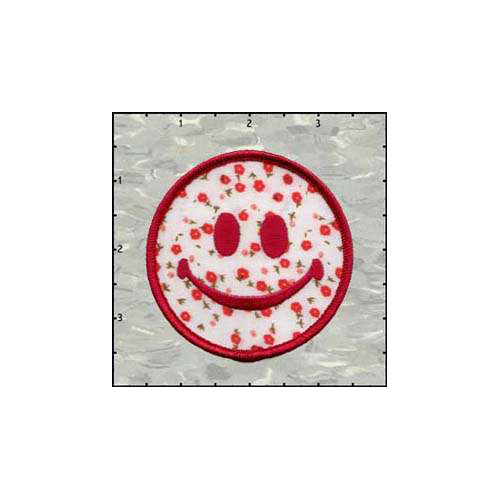Smiley Flowered Pink 3 Inches patch