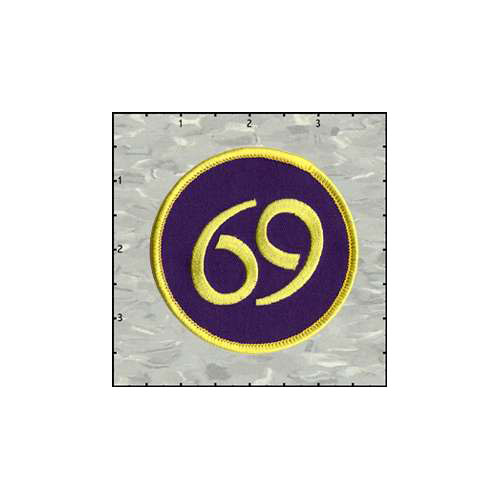 69 Yellow on Purple 3 Inches Patch