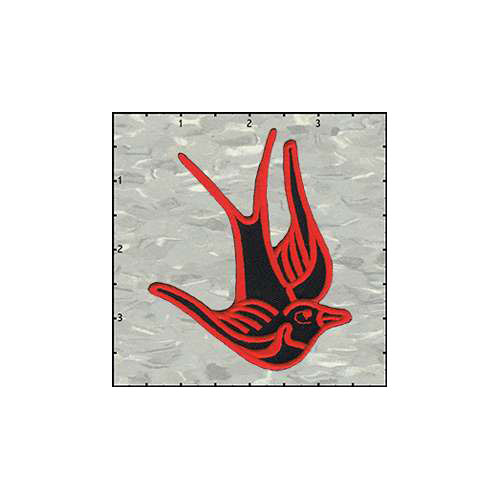 Birds of Happiness 3 Inches Red on Black Left Patch