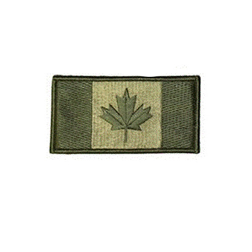 Large Olive Canada 3 3/8 x 2 Inch Patch Hook and Loop Backing