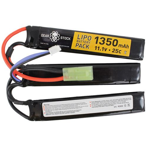 11.1V 1350mAh 25C Butterfly Style LiPo Airsoft Battery