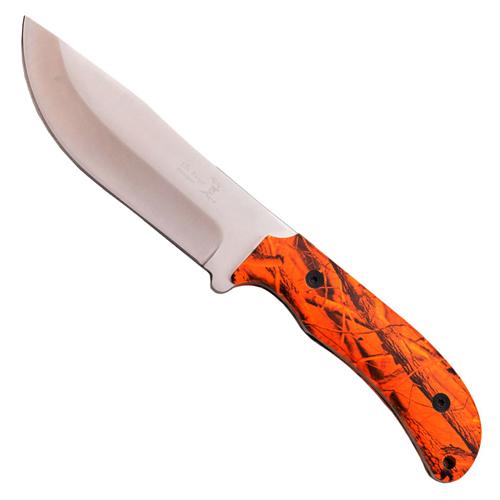 ELK Ridge ER-543OR Satin Blade Orange Camo Handle Fixed Knife