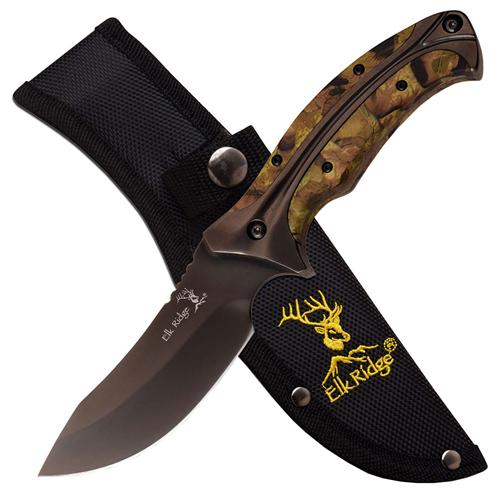 Elk Ridge Wood Inlay Handle Fixed Knife