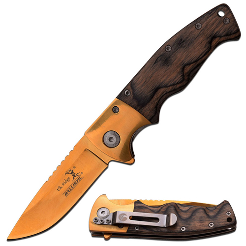 Elk Ridge Black Wood Handle 4.5 Inch Spring Assisted Knife