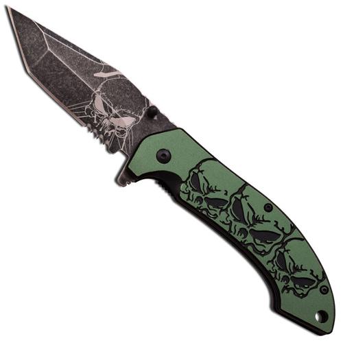 MTech USA MT-A903TQ 5 Closed Skull Pattern Folding Knife
