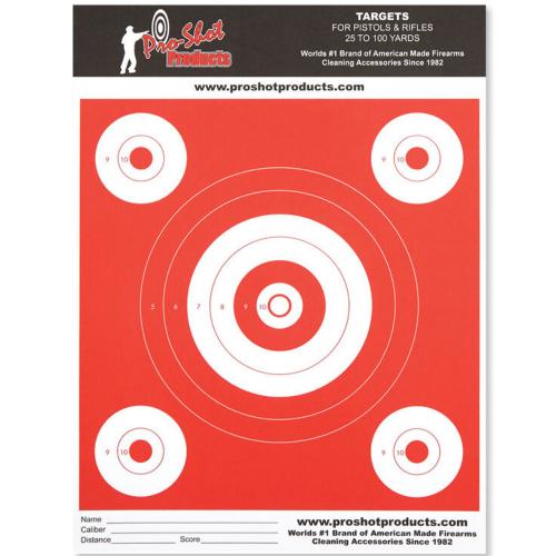 9x12 Inch Bullseye Day Glow Target 6 Pack