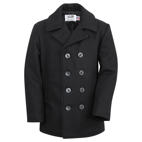 Classic 32 Inch Melton Wool Pea Coat