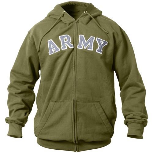 Mens Vintage Army Zipper Hooded Sweatshirt