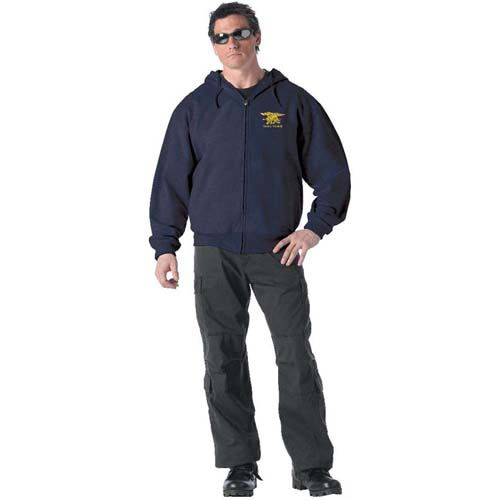 Ultra Force Navy Zipper Hoodie W Navy Seal Trident