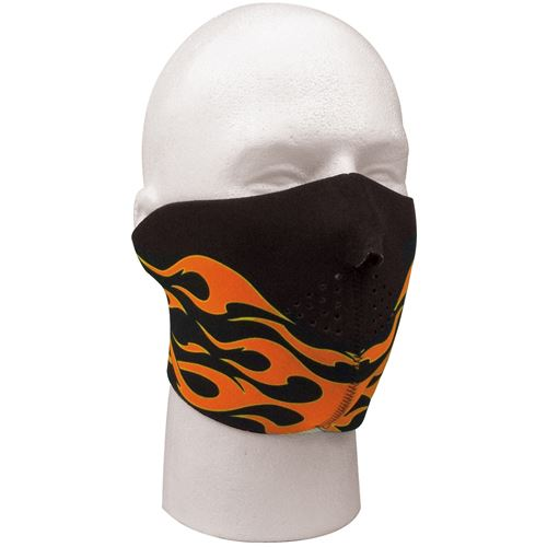 Neoprene Reversible Orange Flames Half Facemask