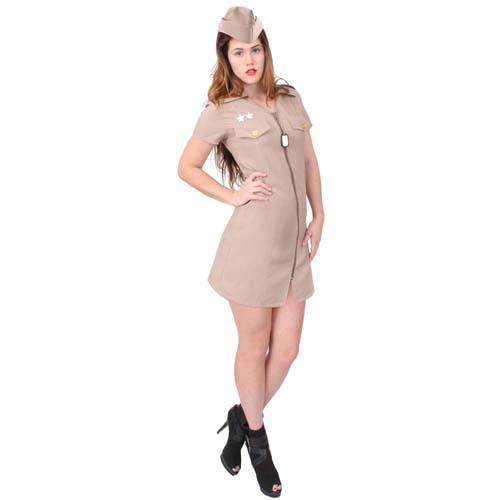 Womens Khaki Military Costume