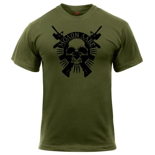 Rothco Molon Labe Skull Printed T-Shirt
