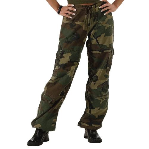 Womens Camo Vintage Paratrooper Fatigue Pants
