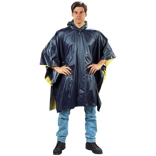 Navy Blue-Yellow Reversible PVC Poncho