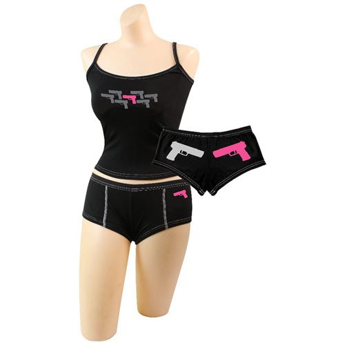 Womens Pink Guns Booty Shorts