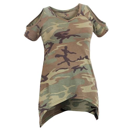 Women Camo Cold Shoulder Top