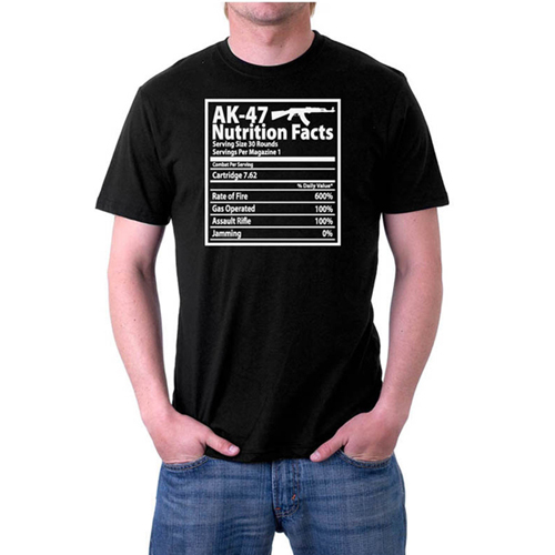 AK-47 Nutrition Facts Custom Printed T-shirt