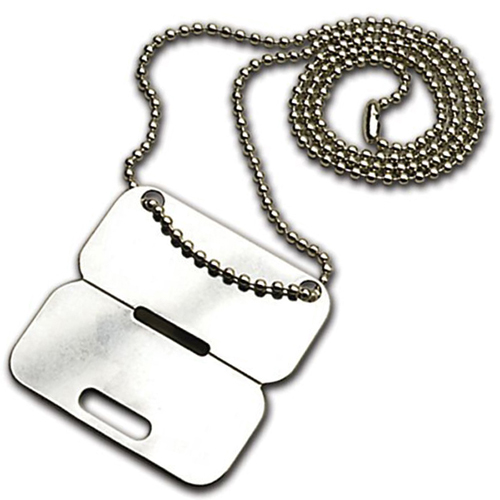 Clip Apart Dog Tag with Chain